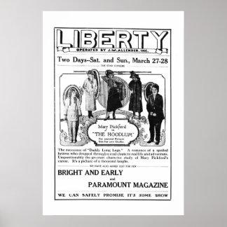 Mary Pickford 1920 vintage movie ad poster