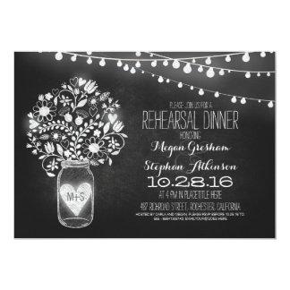 mason jar chalkboard string light rehearsal dinner 13 cm x 18 cm invitation card