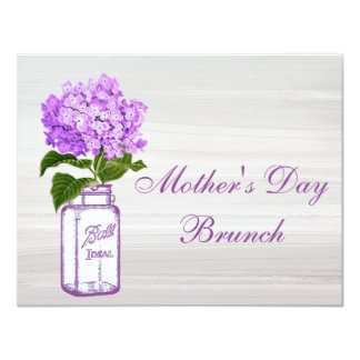 Mason Jar & Purple Hydrangea Mother's Day Brunch 11 Cm X 14 Cm Invitation Card