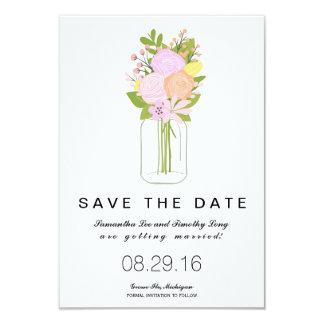 Mason Jar Save The Date | Wedding 9 Cm X 13 Cm Invitation Card
