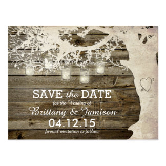 Mason Jar String Lights Rustic Tree Save the Date Postcard