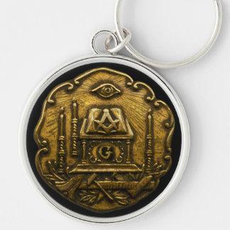 Masonic Emblem Silver-Colored Round Key Ring