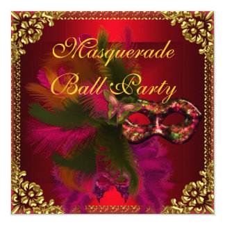 Masquerade Ball Party Masks Gold Deep Red 13 Cm X 13 Cm Square Invitation Card