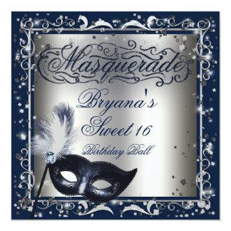 Masquerade Mask Silver & Royal Blue Birthday Party 13 Cm X 13 Cm Square Invitation Card