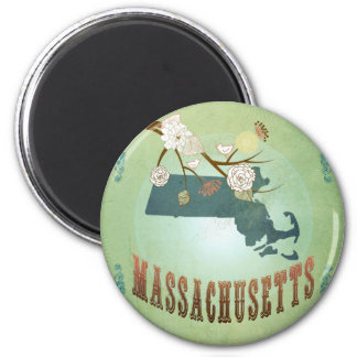 Massachusetts State Map – Green 6 Cm Round Magnet