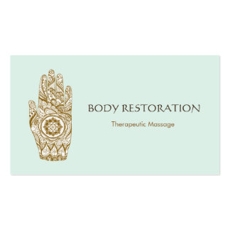 Massage Therapist Logo Henna Lotus Tattoo Hand 5 Pack Of Standard Business Cards