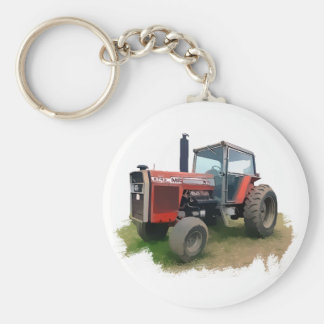 Massey Ferguson Red Tractor in the Field Basic Round Button Key Ring