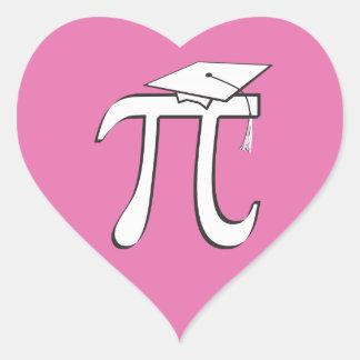 Math Pi Graduate - PINK Pi Grad Gift Heart Sticker