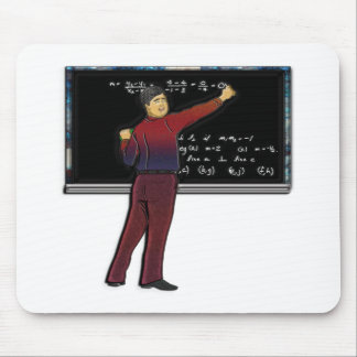 Math Teacher at Chalkboard Print Mouse Pad