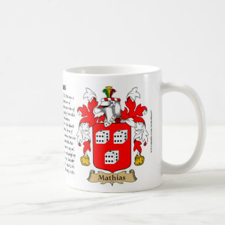 Mathias, the Origin, the Meaning and the Crest Basic White Mug