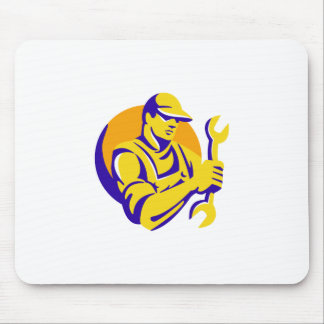 mechanic worker holding spanner wrench retro mouse pad