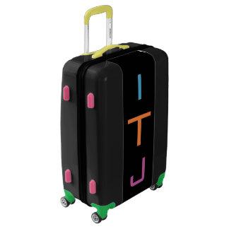 MEDIUM Black Colorful Monogrammed Luggage