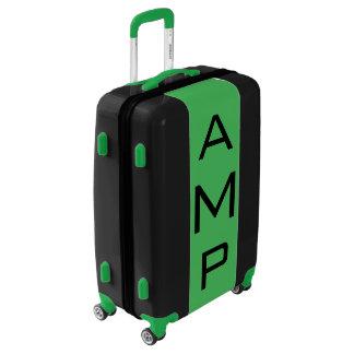 MEDIUM Black + Green Monogrammed Luggage