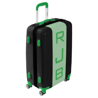 MEDIUM Black + Light Green Monogrammed Luggage