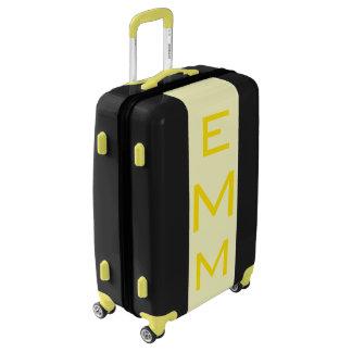 MEDIUM Black + Light Yellow Monogrammed Luggage