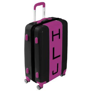 MEDIUM Black + Purple Monogrammed Luggage
