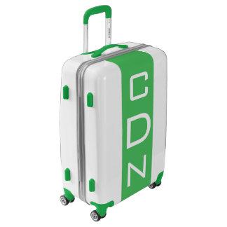 MEDIUM White + Green Monogrammed Luggage