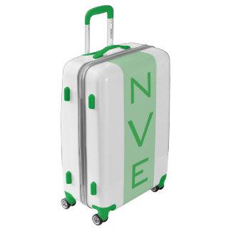 MEDIUM White + Light Green Monogrammed Luggage