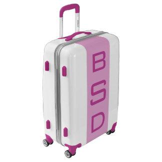 MEDIUM White + Light Purple Monogrammed Luggage