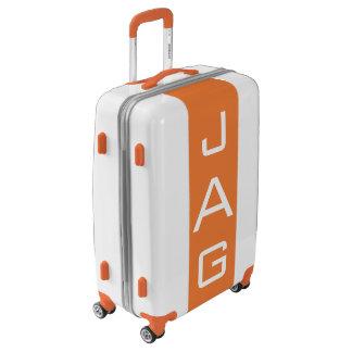 MEDIUM White + Orange Monogrammed Luggage