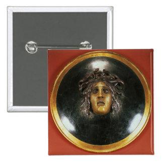 Medusa shield 15 cm square badge