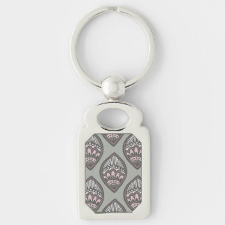 Mehndi Leaf Pattern Silver-Colored Rectangle Key Ring