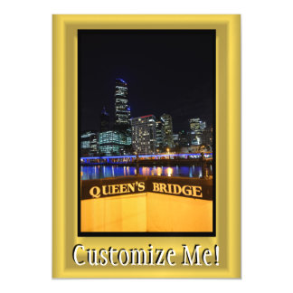 Melbourne Australia CBD Night Lights Magnetic Invitations