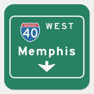 Memphis, TN Road Sign Square Sticker