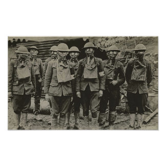 Men In Gas Mask WWI  Print