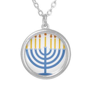 Menorah Round Pendant Necklace