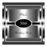 Mens  50th Birthday Party Black  Silver 13 Cm X 13 Cm Square Invitation Card