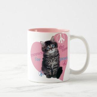 Meows The Time For Peace Two-Tone Mug