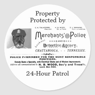 Merchant's Police and Detective Agency Round Sticker