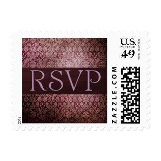 Merlot Damask RSVP Postage Stamp