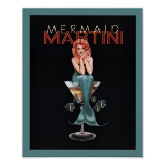 Mermaid Martini Poster