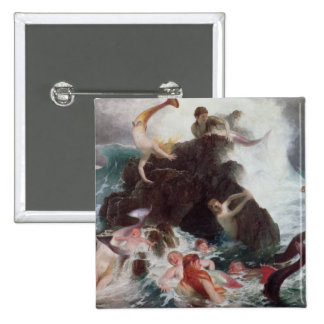 Mermaids at Play, 1886 (oil on canvas) 15 Cm Square Badge