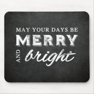 Merry & Bright - Christmas Rustic Chalkboard Mouse Pad