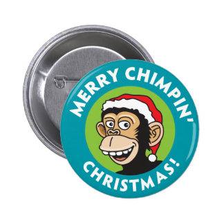 Merry Chimpin' Christmas 6 Cm Round Badge