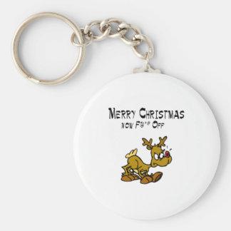 Merry Chrismas Now F*ck Off Basic Round Button Key Ring