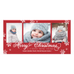 Merry Christmas and Happy New Year Snowflakes Photo Greeting Card