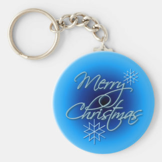 MERRY CHRISTMAS by SHARON SHARPE Basic Round Button Key Ring