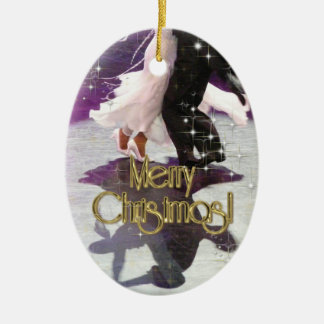 Merry Christmas Dancers Ceramic Oval Decoration