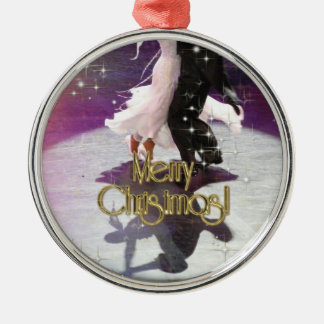 Merry Christmas Dancers Silver-Colored Round Decoration