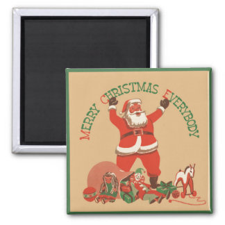 Merry Christmas Everybody! Vintage Santa Claus Square Magnet
