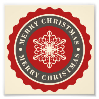 Merry Christmas Holiday Snowflake Photo Print