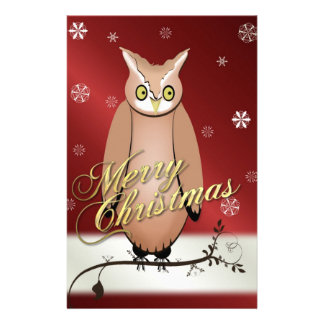 Merry Christmas Owl Red Personalized Stationery