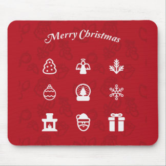 Merry Christmas Popular Icons set Mouse Pad