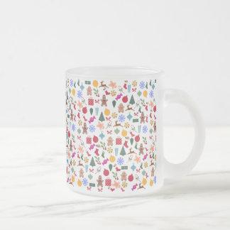 Merry Christmas Print Frosted Glass Mug