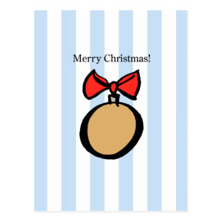 Merry Christmas Round Gold Ornament Postcard