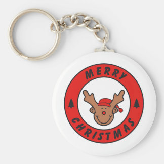 Merry Christmas Rudolf annuitant with tree Basic Round Button Key Ring